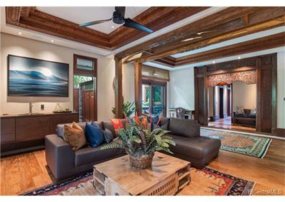 """Indonesian architecture defines space and of use of space deliberately. The """"Rec Room"""" is well distinguished from other areas of the home. Hardwood entryways, Indonesian Ceiling pieces """"Joglows"""", light and space all combine to give these different living spaces clear definition."""