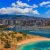Aerial view of Ala Moana Beach Park in Honolulu Hawaii from a helicopter